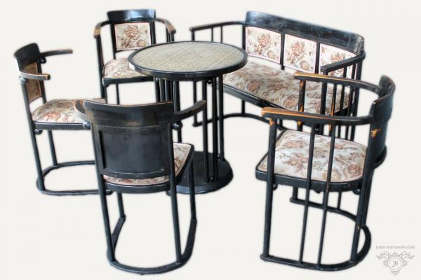 Josef Hoffmann - Sofa set - sofa, 2x armchair, 2x chairs, table