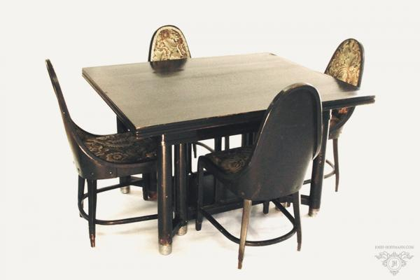 Josef Hoffmann - Dining set - 2x armchair, 4x chair, table